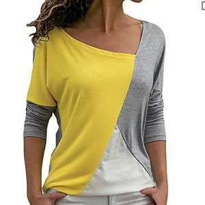 Tops - Tunic Color Block O-Neck Blouse Top soft